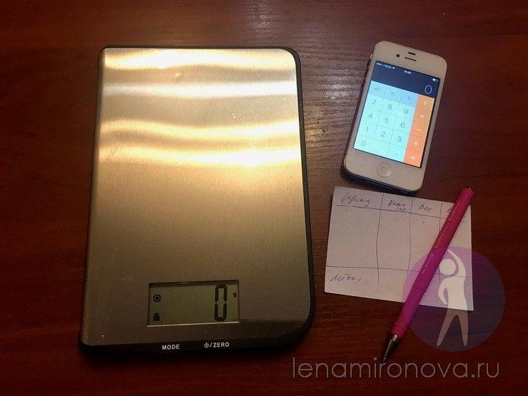 весы, калькулятор, бумага и ручка