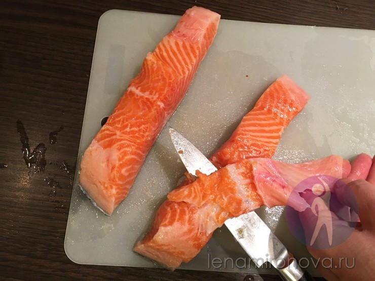 Вырезание косточки из рыбного стейка